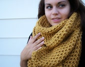 OVERSIZED Infinity Scarf- Mustard Yellow- Chunky Cowl, Eternity Scarf, Loop Scarf