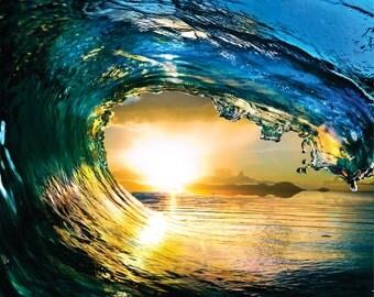 Water Wave Outdoor Scene Ocean Sun Sky Picture Art Mural Vinyl Wall Decal Peel & Stick Sticker Graphic Design Color 763 20X20