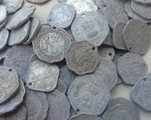 50 East Indian Coins:  Assemblage, Tribal Belly Dance, India, Antique Silver, Coin Bra
