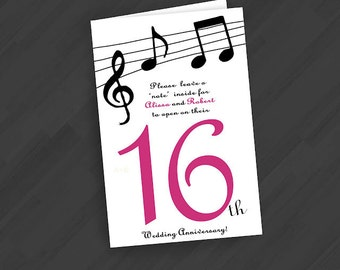 Table Number Anniversary Book Cards- (Use any design in the Shop or go Custom -Music Notes Design Shown)