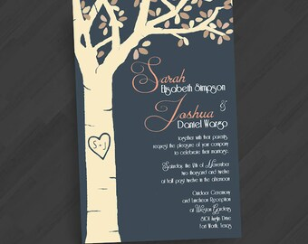 Rustic Carved Tree Invitations. Color/Font/Text Changes Free. Perfect for Outdoor Events and Weddings. Printed or Digital.