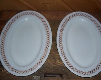 Pyrex Brown Swirl Pattern Platters