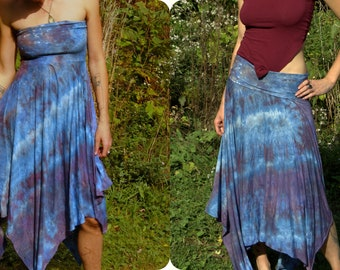 Organic gypsy dress / pixie skirt convertible asymmetrical fairy tie dye maternity clothing S, M, L