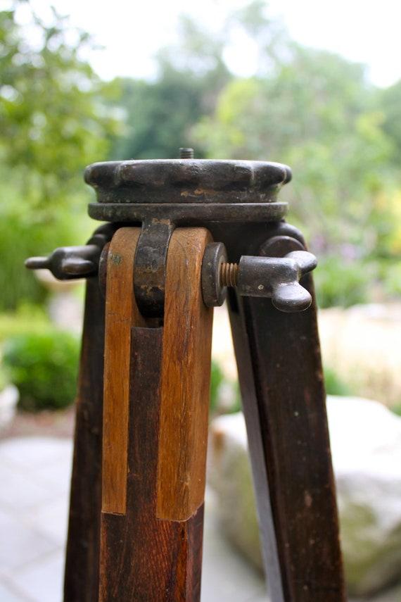 Vintage Wooden Surveyors Tripod For Industrial Lighting