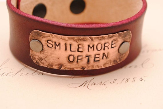Leather Bracelet Cuff Hand Stamped Copper Smile More Often Oxblood Leather