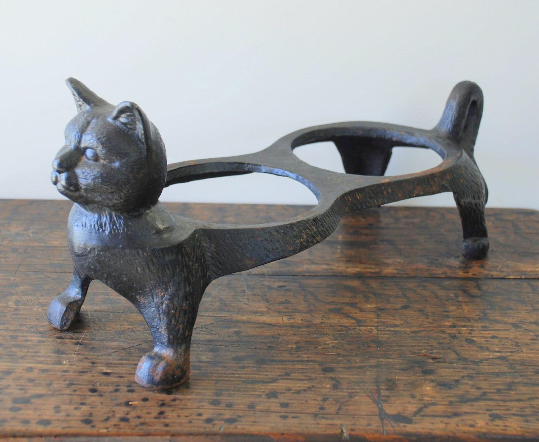 Sale Vintage Cast Iron Black Cat Food Dish Flower Pot Holder