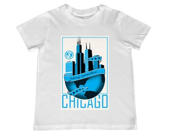 """Chicago """"Belong Somewhere""""  Travel Poster Tee, infant sizes 12mo-24mo, 2T-4T youth sizes xs, s, m, l"""