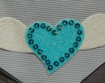 Glitter Heart with Wings Transfer