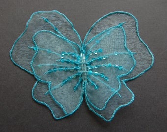 2pc Large Organza Butterfly Embroidered Applique