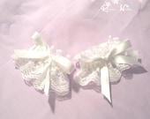 Lovely white lolita wrist cuffs set