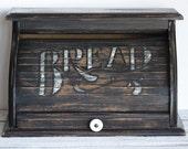 Black Bread Box Roll Top Vintage Porcelain Knob Country Primitive Kitchen