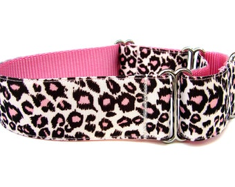 "Leopard Print Dog Collar 1.5"" Martingale Collar"