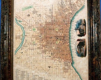 City of Philadelphia Map Print of an 1840 Map on Parchment Paper