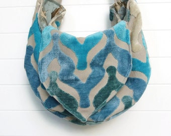 Boho Bag Purse Aqua Teal Turquoise Cut Velvet Slouchy Hobo