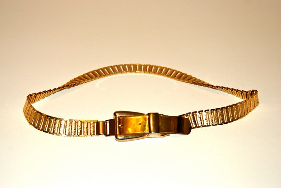 Gold slinky belt with watch link style band--super glam.