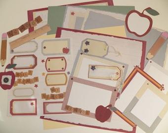 Scrapbook Kit - Scrapbook Embelishment Kit - 19 Piece Die Cut Scrapbook Kit - DYI School Scrapbook Kit - 12x12 Scrapbook Kit - Scrapbooking