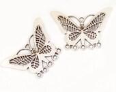 Butterfly earring findings - Hoop earrings, Hearts, Tibetan SILVER - intricate detail - dangle earrings, jewelry design
