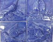 Ceramic Tiles -- Birds on a Vine Relief  Architectural  Tiles -- Set of 4 in French Blue Glaze