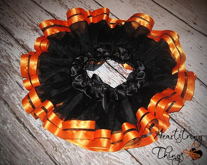 Halloween Chiffon Pixie Pettiskirt double lined with Satin Ribbon adapted from Petti Skirt for Baby or Child Black and Orange