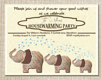 Printable DIY Elegant Elephant Housewarming Diwali Naming Ceremony personalized party invitation moving announcement PDF file