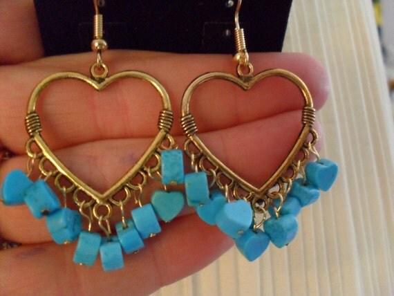 Dangle Earrings/ Blue heart / Truquoise / antiqued gold heart