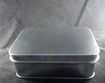 Tin Storage Box -  3.5 inches x 5 inches x 2 inches deep - with removable lid