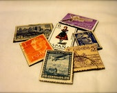 Postage Stamp Magnets-- Set of 5