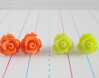 Girl's Post Earrings, Bright Spring Jewelry, Resin Rose Posts, Citrus Colors, Lime Green and Orange, Set of Two