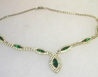 Vintage Rhinestone Necklace - Emerald Green Marquise