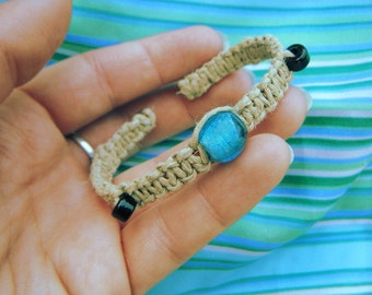 Sparkly Blue Bead Hemp Bangle - Brilliantly Blue