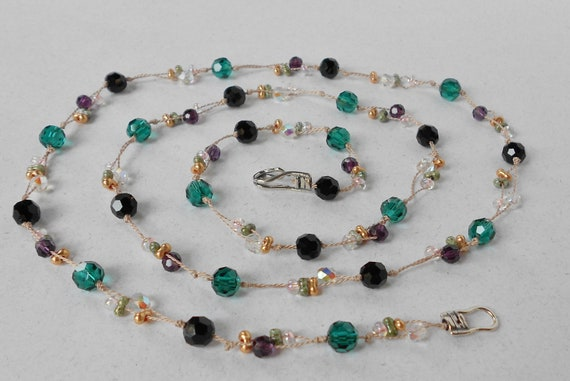 Sterling Silver - Silk knotted long necklace with Emerald, Black, Purple, and Clear Swarovski crystals & farfalle beads (NK178)