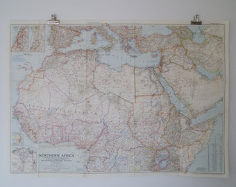 1954 northern africa national geographic wall map