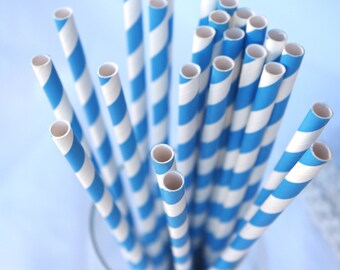 TRue BLue & WHITE Striped---Paper  Straws---25ct with Free Printable diy Flags