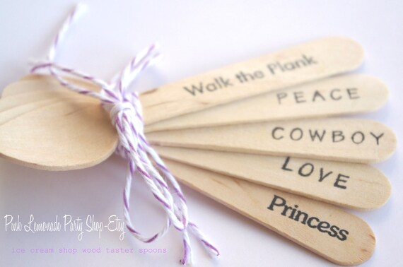 25ICe CReaM SHoP WooD TaSTeR SPooNs-25ct--use with mini ice cream cups-ice cream sundaes-weddings-birthday parties--handstamped or plain-