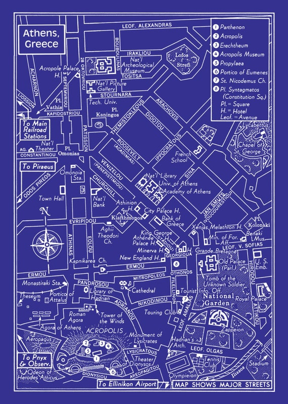 Athens map athens greece vintage map of downtown athens like this item malvernweather Images