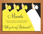 Will You Be My Bridesmaid / Down the Aisle Set of 3 Customized Printable Invitations /  DIY