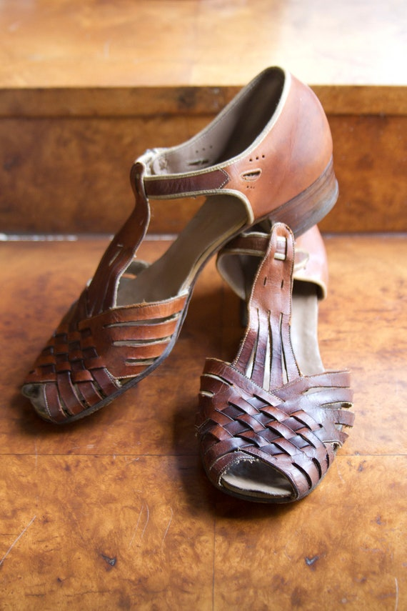 1920's Woven Leather T-Strap Sandals by Surprise
