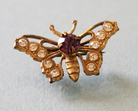 Antique 1930s Butterfly Pin -:- Amethyst & White Color Stones