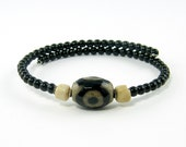 Black Beaded Bracelet, Boho Tribal Bracelet, Black Tan Trade Bead Rustic Unisex Bangle