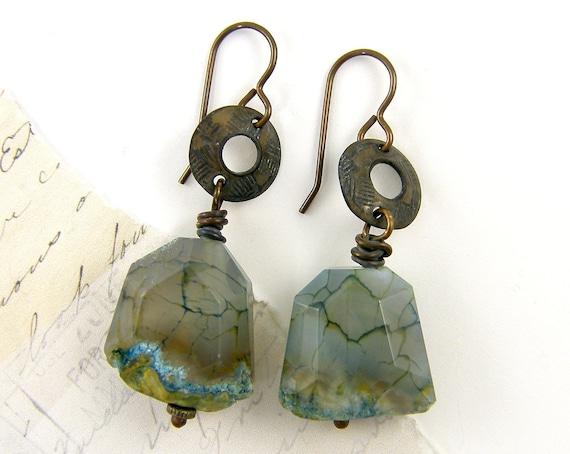Blue Gemstone Earrings, Aqua Rustic Earrings, Chunky Bead Earrings, Rustic Dangle Earrings, Aqua Brown Earrings, Boho Gypsy Jewelry