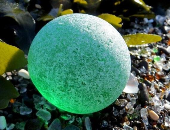 RESERVED GREEN Sphere Boulder Beach Sea Glass  717-B-1