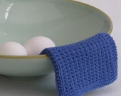 Hand knitted dish cloth - wash cloth - soft cotton periwinkle blue
