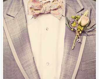 Men tie self-tie Wedding Mens Bow Tie- Pink, gold and grey/blue paisley bowtie