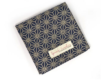 Mens Pocket Square Blue and Cream Asanoha