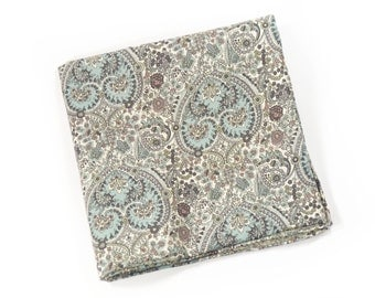 Wedding Mens Pocket Square seafoam and teal paisley