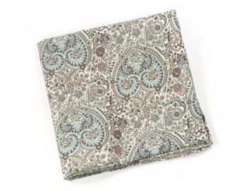 Wedding Mens Pocket Square Scaramanga- seafoam and teal paisley