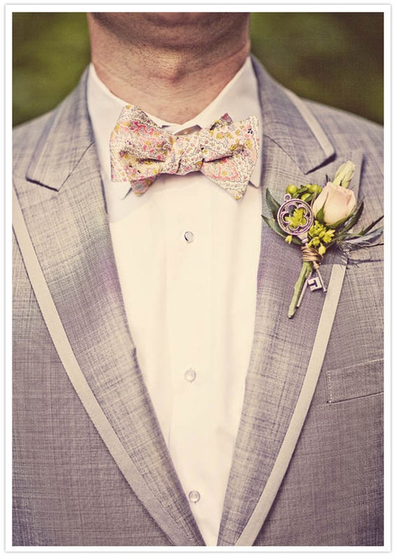 Men tie self-tie Wedding Mens Bow Tie- Pink, gold and grey/blue paisley bowtie