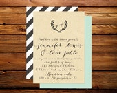 Whimsical Rustic Calligraphy Wedding Invitation with Wreath