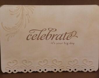 Wedding/Celebration Card-Vintage Style-Heart Embossing Detail
