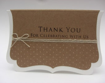 Thank You Cards Kraft/White Set of 10 Vintage Style Embossed